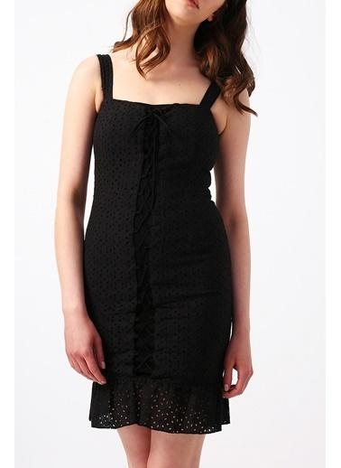 Random Kadın Etek Ucu Fırfırlı Askılı Mini Elbise Siyah